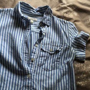 00 J. Crew striped short sleeve popover buttondown